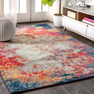 """JONATHAN  Y Contemporary POP Modern Abstract Cream/Blue 5 ft. x 8 ft. Area Rug - 5'3"""" x 7'7"""""""