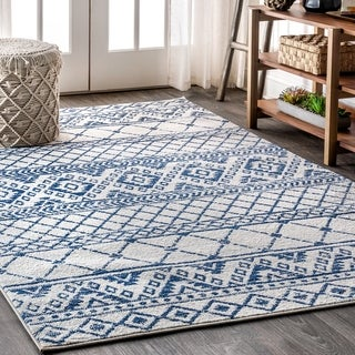 "JONATHAN Y Moroccan HYPE Boho Vintage Tribal Cream/Blue 8 ft. x 10 ft. Area Rug - 7'9"" x 10'"