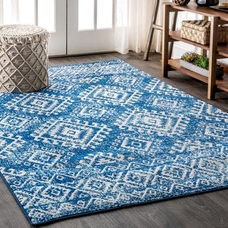"JONATHAN  Y Moroccan HYPE Boho Vintage Tribal Blue/White 5 ft. x 8 ft. Area Rug - 5'3"" x 7'7"""