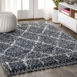 "JONATHAN  Y Mercer Shag Plush Tassel Moroccan Geometric Trellis Denim Blue/Cream 5 ft. x 8 ft. Area Rug - 5'3"" x 7'6"""