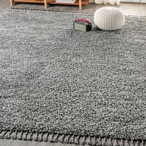 "JONATHAN Y Mercer Shag Plush Tassel Charcoal 3 ft. x 5 ft. Area Rug - 3'1"" x 5'"