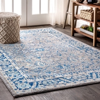 """JONATHAN  Y Modern Persian Boho Floral Gray/Navy 5 ft. x 8 ft. Area Rug - 5'3"""" x 7'7"""""""