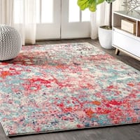 The Curated Nomad Beale Modern Abstract Blue/Red Area Rug - 5'3 x 7'7