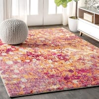 """JONATHAN  Y Contemporary POP Modern Abstract Pink/Orange 8 ft. x 10 ft.  Area Rug - 7'9"""" x 10'"""