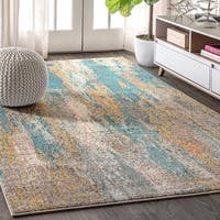 "JONATHAN  Y Contemporary POP Modern Abstract Vintage Waterfall Blue/Cream 5 ft. x 8 ft. Area Rug - 5'3"" x 7'7"""