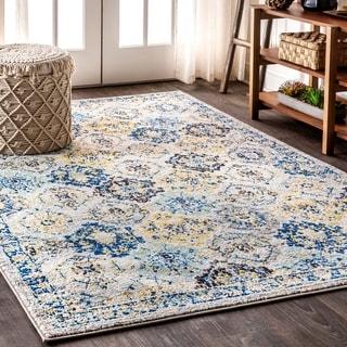 "JONATHAN  Y Modern Persian Boho Vintage Trellis Blue/Multi 5 ft. x 8 ft. Area Rug - 5'3"" x 7'7"""