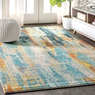 "JONATHAN  Y Contemporary POP Modern Abstract Vintage Waterfall Blue/Cream/Yellow 8 ft. x 10 ft.  Area Rug - 7'9"" x 10'"