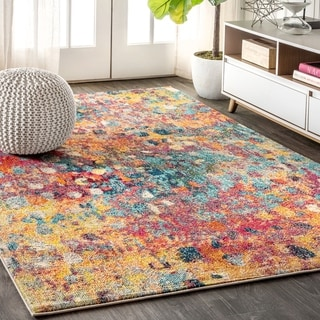 """JONATHAN  Y Contemporary POP Modern Abstract Multi/Yellow 8 ft. x 10 ft.  Area Rug - 7'9"""" x 10'"""