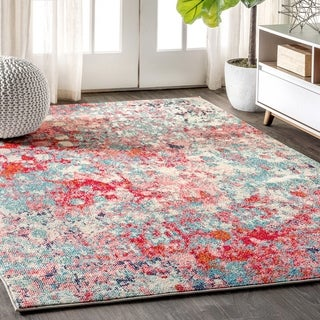 JONATHAN  Y Contemporary POP Modern Abstract Blue/Red 3 ft. x 5 ft. Area Rug - 3' x 5'