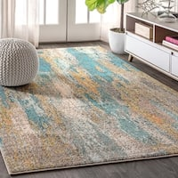 The Curated Nomad Beale Abstract Vintage Waterfall Blue/Cream Area Rug - 7'9 x 10'