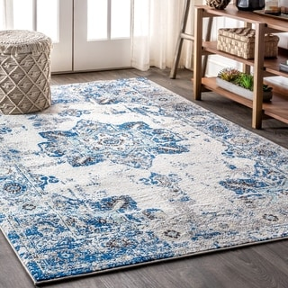 "JONATHAN  Y Modern Persian Boho Vintage Medallion Cream/Blue 8 ft. x 10 ft.  Area Rug - 7'9"" x 10'"