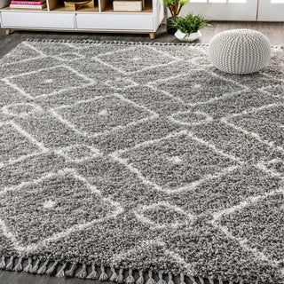 "JONATHAN  Y Mercer Shag Plush Tassel Moroccan Diamond Grey/Cream 3 ft. x 5 ft. Area Rug - 3'1"" x 5'"