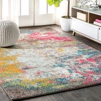 """JONATHAN  Y Contemporary POP Modern Abstract Multi/Yellow 5 ft. x 8 ft. Area Rug - 5'3"""" x 7'7"""""""