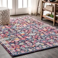 "JONATHAN  Y Modern Persian Boho Floral Multi/Purple 8 ft. x 10 ft.  Area Rug - 7'9"" x 10'"