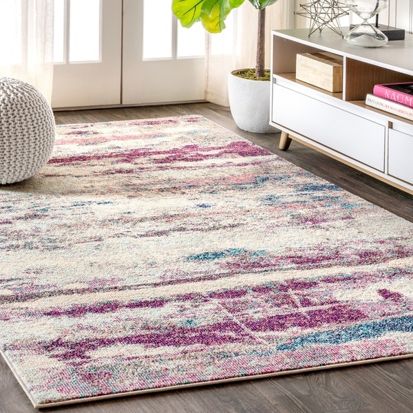 """JONATHAN Y Contemporary POP Modern Abstract Brushstroke Cream/Pink 8 ft. x 10 ft. Area Rug - 7'9"""" x 10'"""