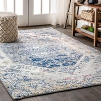 The Curated Nomad Townsend Persian Boho Vintage Cream/Blue Area Rug - 7'9 x 10'