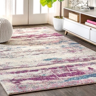 """JONATHAN  Y Contemporary POP Modern Abstract Brushstroke Cream/Pink 5 ft. x 8 ft. Area Rug - 5'3"""" x 7'7"""""""