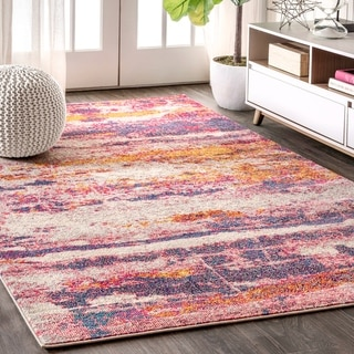 """JONATHAN  Y Contemporary POP Modern Abstract Brushstroke Pink/Cream 8 ft. x 10 ft.  Area Rug - 7'9"""" x 10'"""