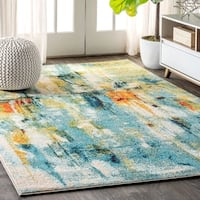 "JONATHAN  Y Contemporary POP Modern Abstract Waterfall Blue/Cream 8 ft. x 10 ft.  Area Rug - 7'9"" x 10'"