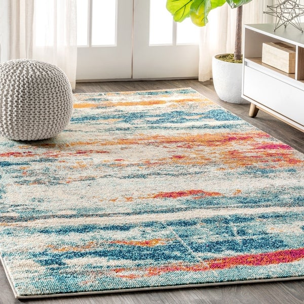 "JONATHAN Y Contemporary POP Modern Abstract Brushstroke Cream/Blue 8 ft. x 10 ft. Area Rug - 7'9"" x 10'"