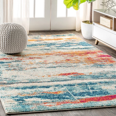 """JONATHAN Y Contemporary POP Modern Abstract Brushstroke Cream/Blue 8 ft. x 10 ft. Area Rug - 7'9"""" x 10'"""