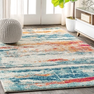 "JONATHAN Y Contemporary POP Modern Abstract Brushstroke Cream/Blue 5 ft. x 8 ft. Area Rug - 5'3"" x 7'7"""