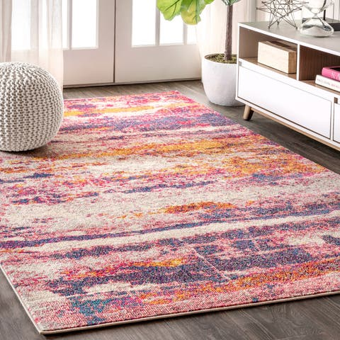 "Porch & Den Morley Pink/Cream Abstract Area Rug - 5'3"" x 7'7"""