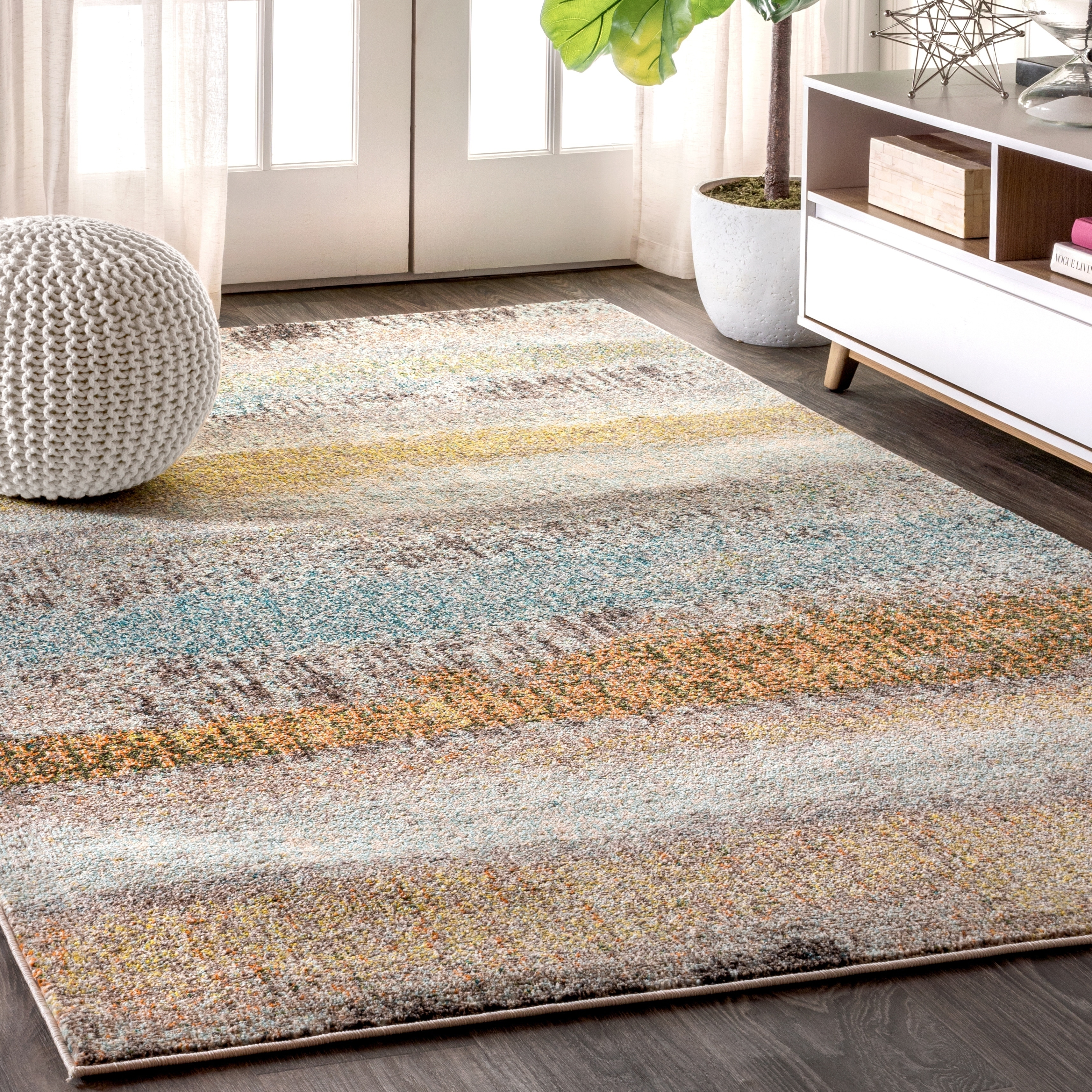 Jonathan Y Contemporary Pop Modern Abstract Vintage Cream Yellow 5 Ft X 8 Area Rug 3 7