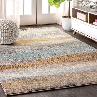"""JONATHAN  Y Contemporary POP Modern Abstract Vintage Cream/Yellow 5 ft. x 8 ft. Area Rug - 5'3"""" x 7'7"""""""