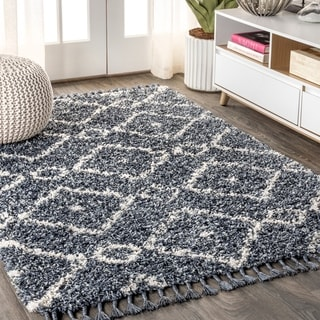 "JONATHAN  Y Mercer Shag Plush Tassel Moroccan Diamond Denim Blue/Cream 8 ft. x 10 ft.  Area Rug - 7'9"" x 10'"