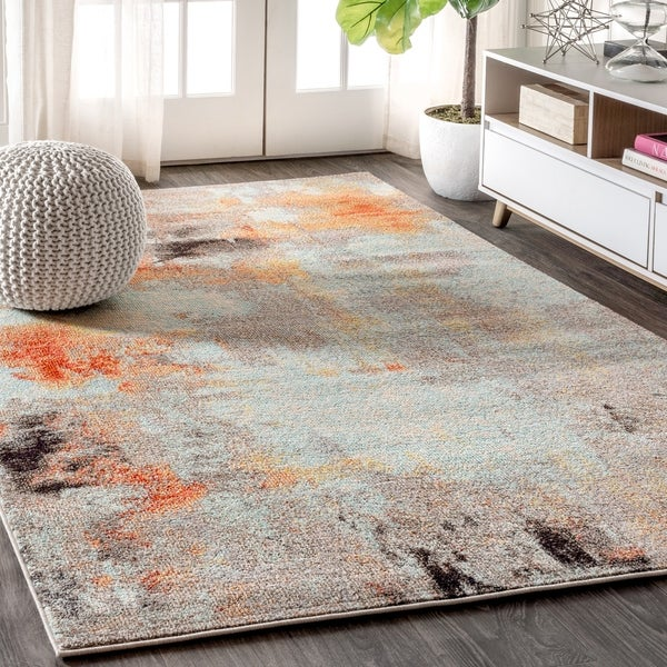 """JONATHAN Y Contemporary POP Modern Abstract Vintage Cream/Orange 8 ft. x 10 ft. Area Rug - 7'9"""" x 10'"""
