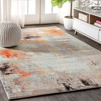 "JONATHAN  Y Contemporary POP Modern Abstract Vintage Cream/Orange 8 ft. x 10 ft.  Area Rug - 7'9"" x 10'"