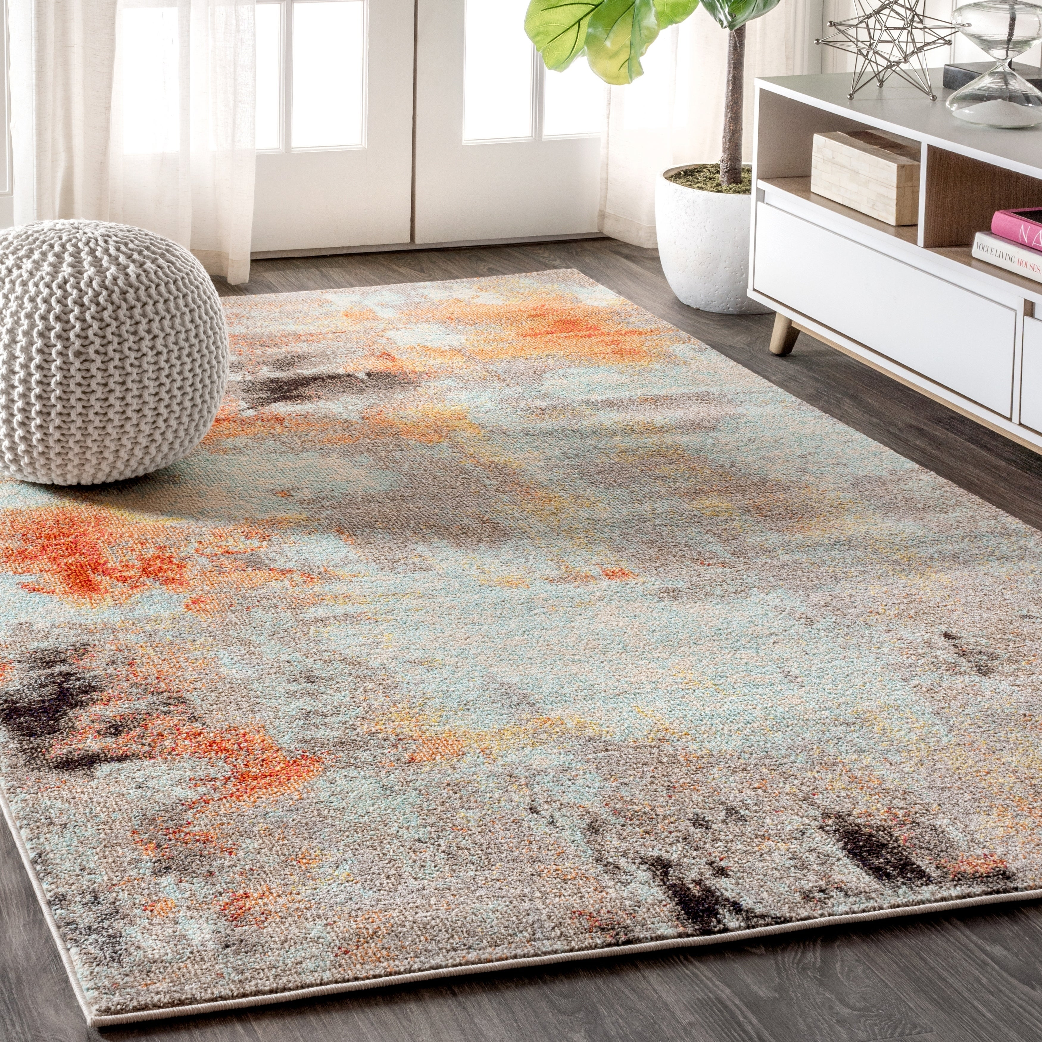 ~Trendz Contemporary Geometric Pattern Abstract Modern Area Rug Orange All Sizes