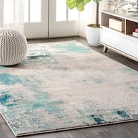 "JONATHAN  Y Contemporary POP Modern Abstract Vintage Cream/Blue 8 ft. x 10 ft.  Area Rug - 7'9"" x 10'"