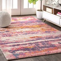 JONATHAN  Y Contemporary POP Modern Abstract Brushstroke Pink/Cream 4 ft. x 6 ft.  Area Rug - 4' x 6'