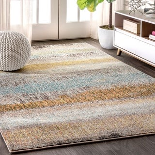 "JONATHAN  Y Contemporary POP Modern Abstract Vintage Cream/Yellow 8 ft. x 10 ft.  Area Rug - 7'9"" x 10'"