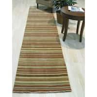 Orange/green Striped Handmade Wool Rug - 2' x 12'