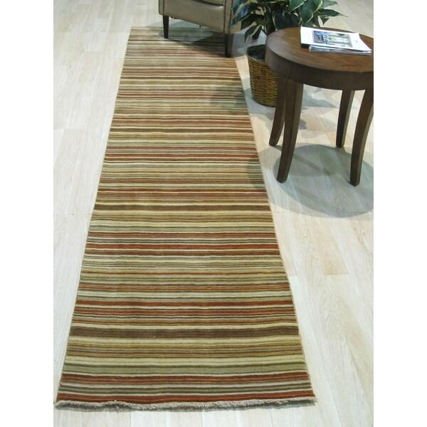Orange/green Striped Handmade Wool Rug - 2' x 6'