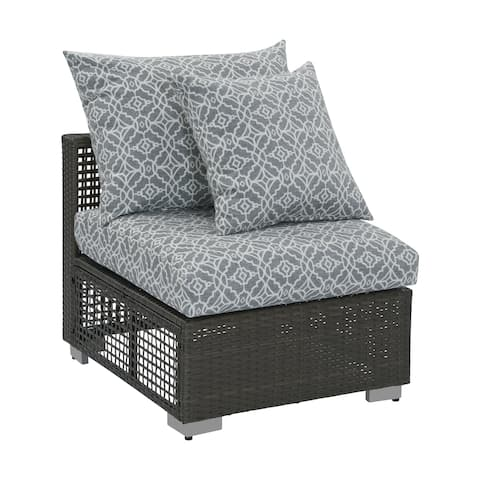Handy Living Aldrich Outdoor Gray Open Weave Rattan Armless Chair with Sunbelievable Cushions