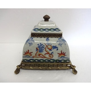 Ormolu White Crackle with Blue & Orange Scrolls Cover Jar