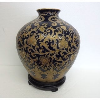 Blue and Gold Scroll Rounded Vase w/ Stand