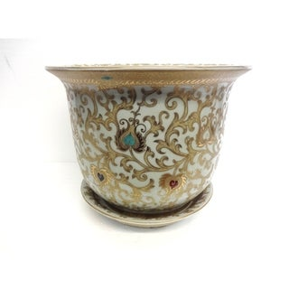 White and Gold Scroll Planter w/ Saucer