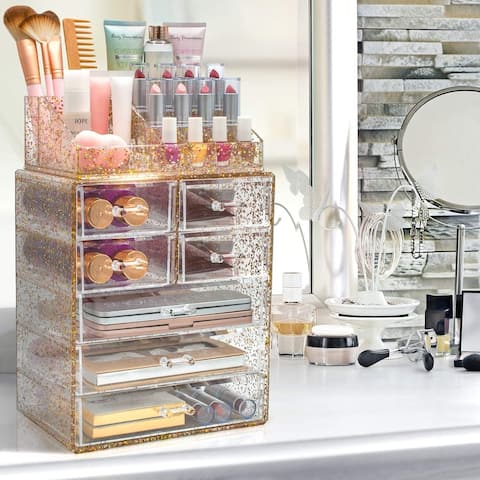 Sorbus Glitter Makeup and Jewelry Storage Case Display Set (Style 1)