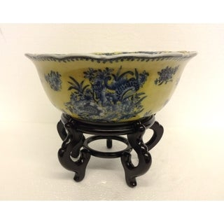 Yellow and Blue Bowl with Angel Design inside w/ Stand