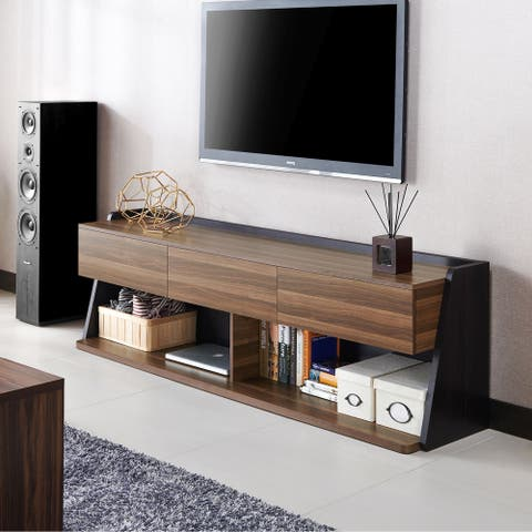 Furniture of America Alan Contemporary Walnut 72-inch 2-shelf TV Console