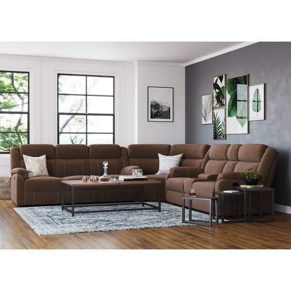 Shop Tompkins Chocolate Fabric Sectional Sofa - On Sale ...