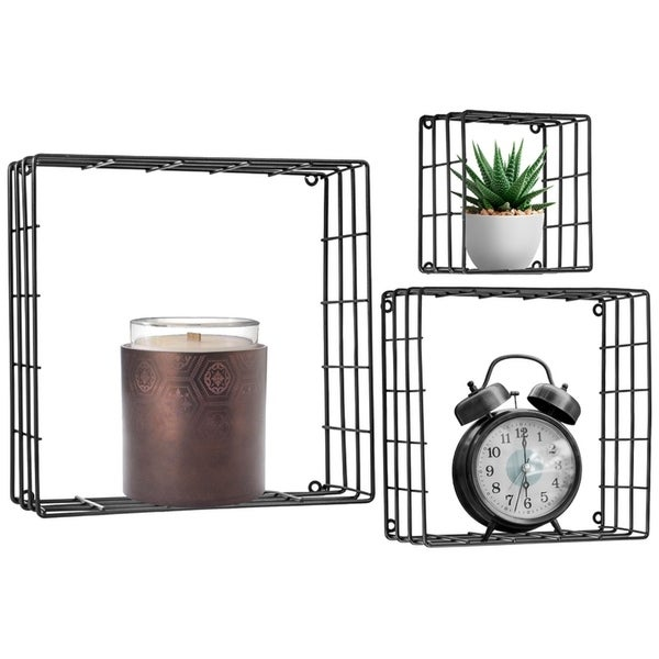 Metal Wire Square Design Wall Mounted Floating Shelves, Set of 3