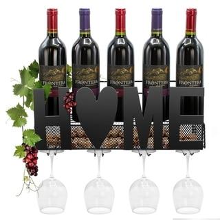 Wall Mounted Metal Wine Rack 4 Long Stem Glass Holder Wine Cork Storage