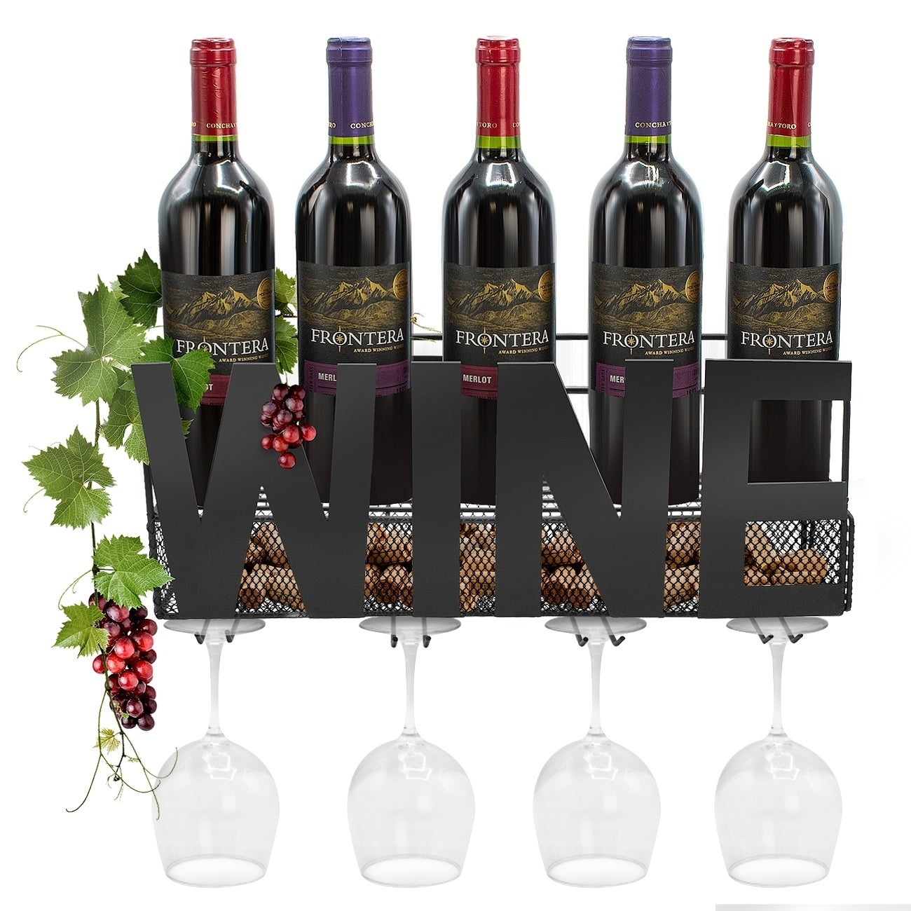 Wall Mounted Metal Wine Rack 4 Long Stem Gl Holder Cork Storage
