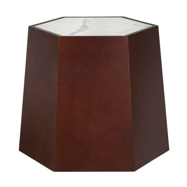 angelo:HOME Wallace Marble-top Hexagonal Side Table